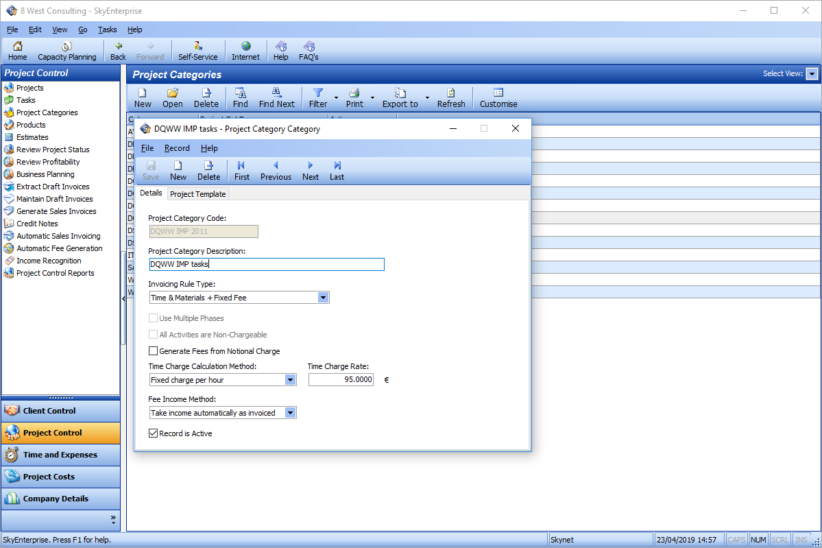 Project Management Screenshot showing project control panel