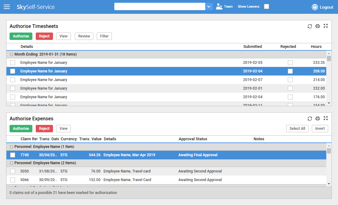 Time & Expenses screenshot showing authorisation page for user