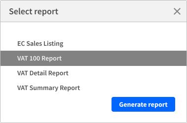 Generate VAT reporting